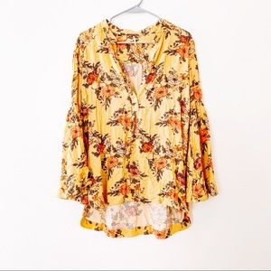 Free People Easy Girl Floral Bell Sleeve Tunic